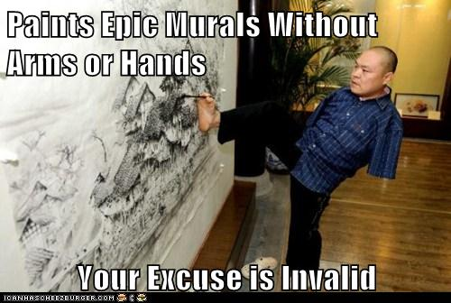 Paints Epic Murals Without Hands or Feet - Your Excuse In Invalid via cheezeburger.com
